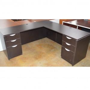 Corner Desk – Dark Walnut Wood Finish – NEW Display | Warehouse of